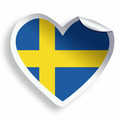 Heart sticker with flag of Sweden isolated on white - PhotoDune Item for Sale