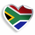 Heart sticker with flag of South Africa isolated on white - PhotoDune Item for Sale