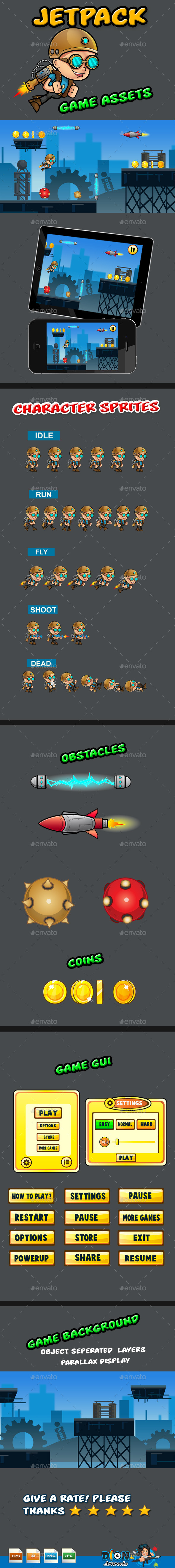 GraphicRiver Jetpack Boy Game Assets 9515582