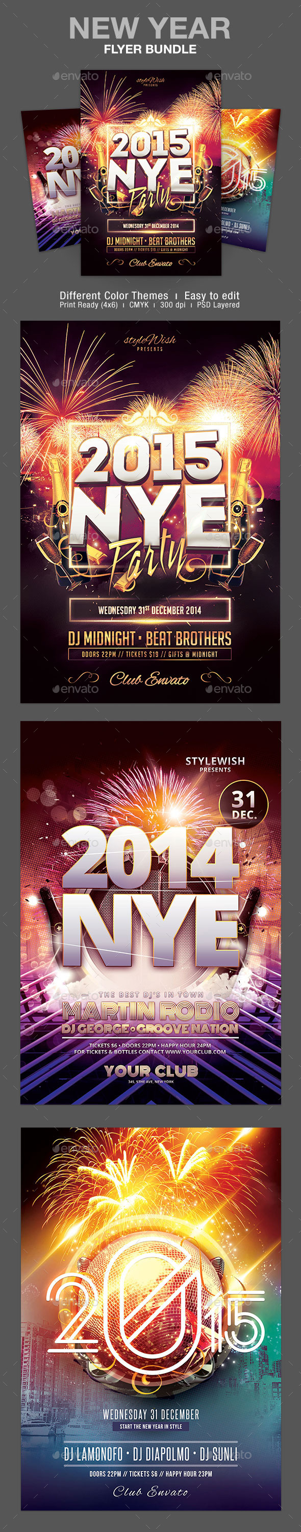 GraphicRiver New Year Flyer Bundle 9562210