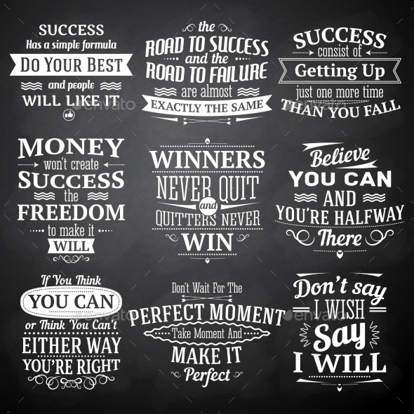 GraphicRiver Success Quotes Chalkboard Set 9562211