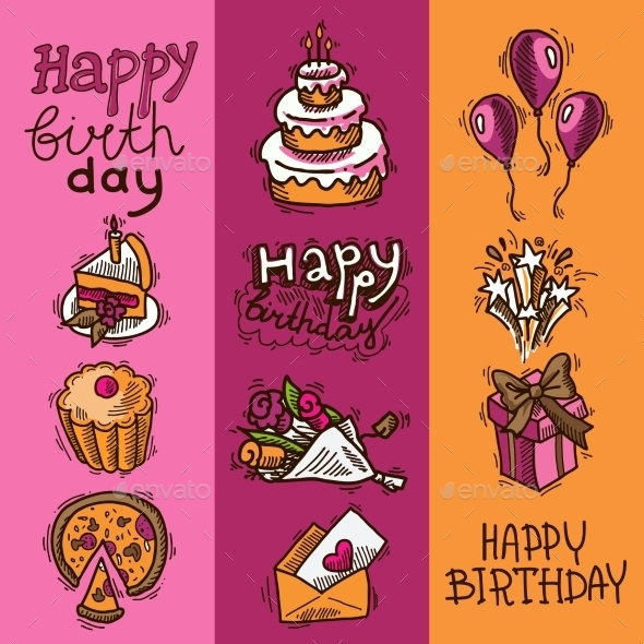 GraphicRiver Birthday Sketch Banner Set 9562212