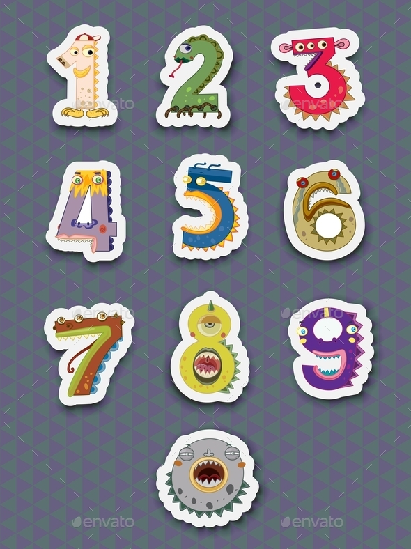 GraphicRiver Number Stickers 9562223