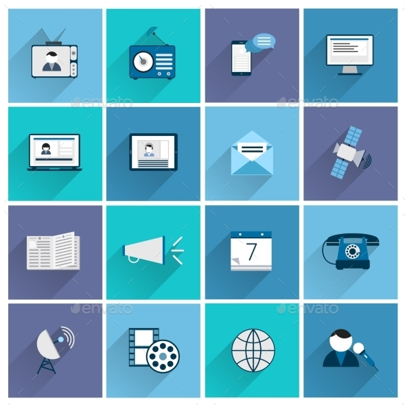 GraphicRiver Media Icons Flat Set 9562233
