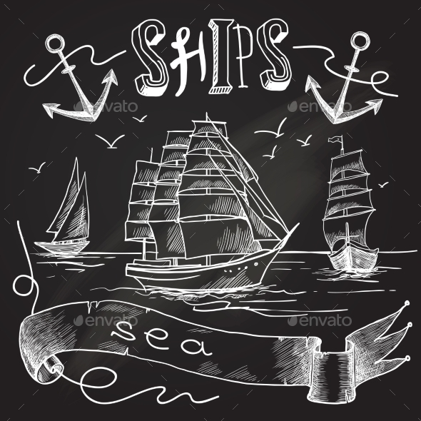 GraphicRiver Ship Chalkboard Poster 9562280