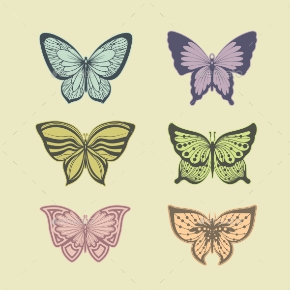 GraphicRiver Set of Butterflies 9562281