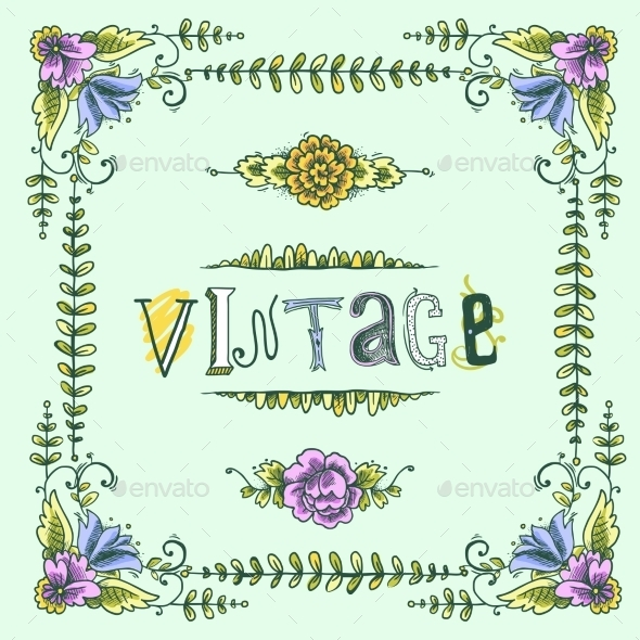 GraphicRiver Vintage Colored Frame 9562290