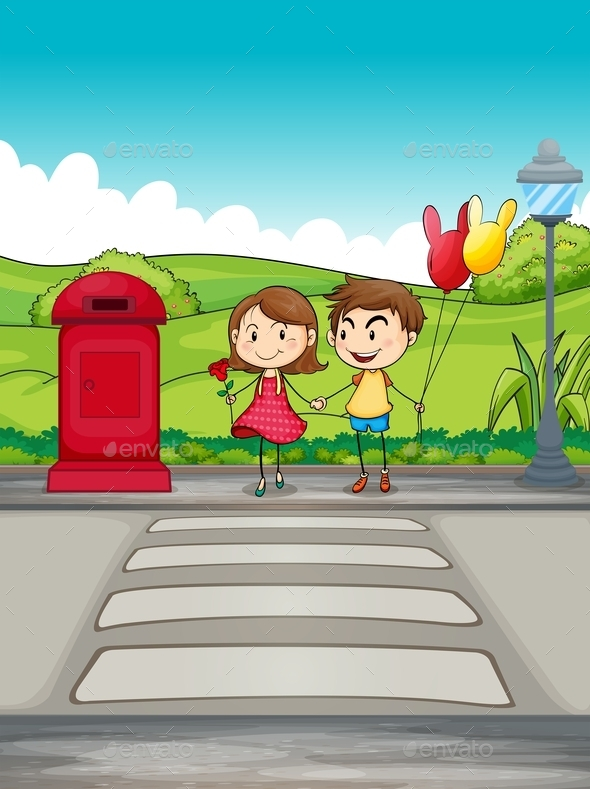 GraphicRiver A Girl and a Boy Crossing the Street 9562318