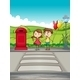 A Girl and a Boy Crossing the Street - GraphicRiver Item for Sale