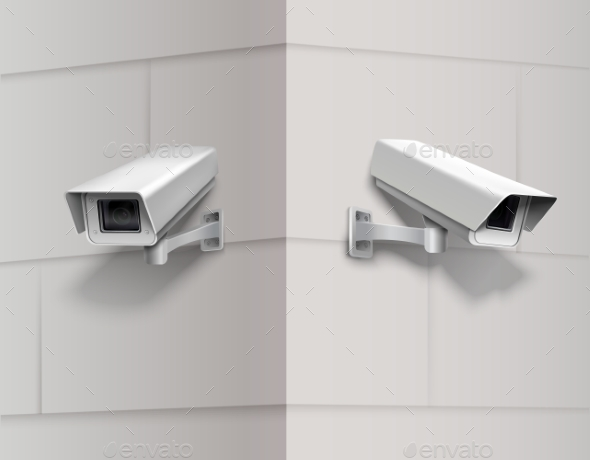 GraphicRiver Surveillance Cameras on Wall 9562345
