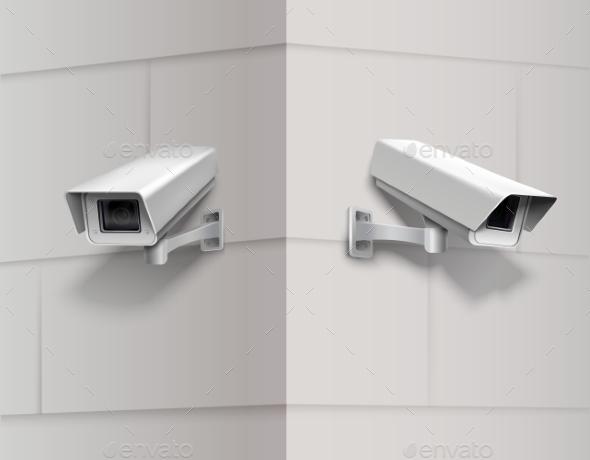 GraphicRiver Surveillance Cameras on Wall 9562345