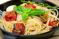 spaghetti pasta with baked cherry tomatoes and basil - PhotoDune Item for Sale