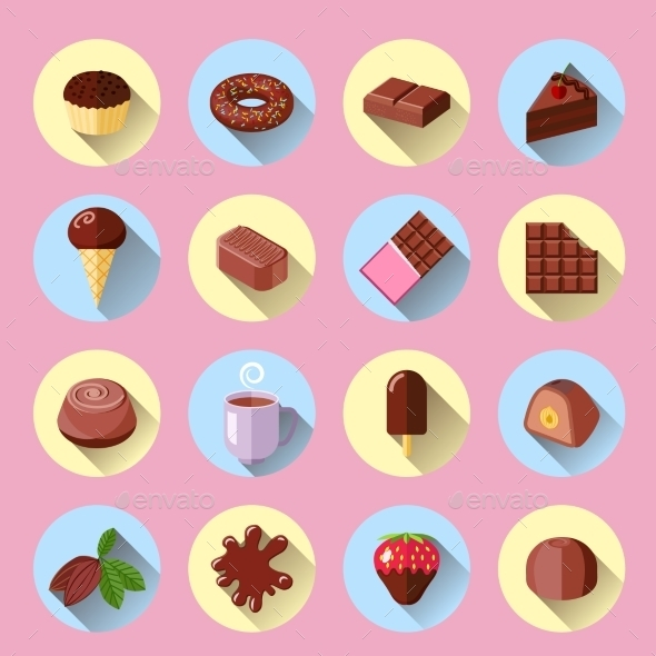 GraphicRiver Chocolate Icons Flat 9562444