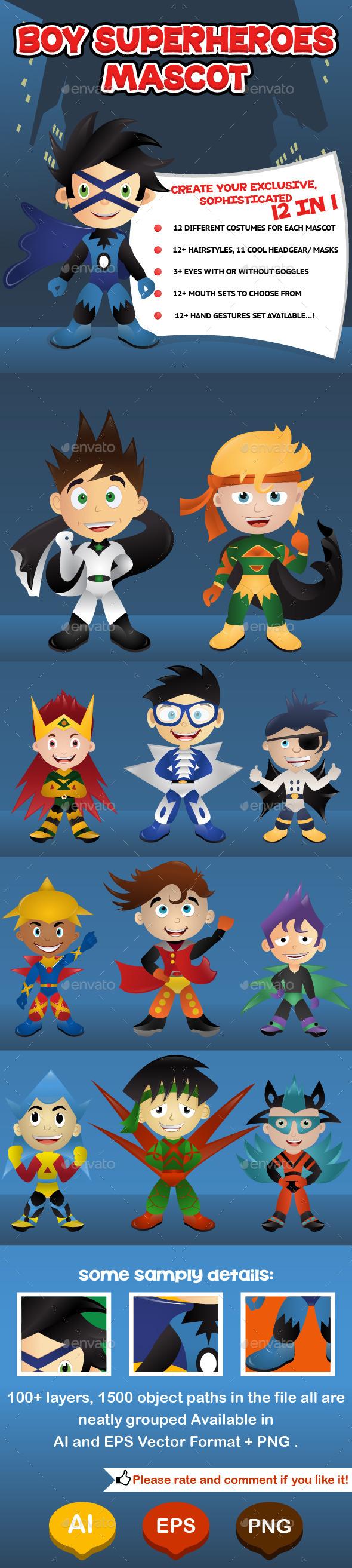GraphicRiver Boy Superheroes Mascot 9562457
