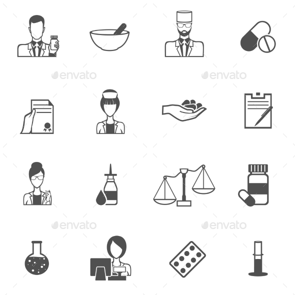Pharmacist Icons Set