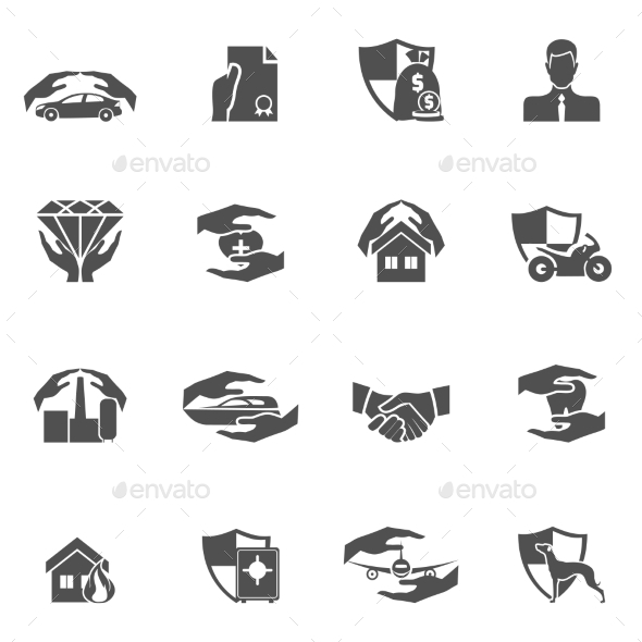 GraphicRiver Insurance Icons Black 9562493