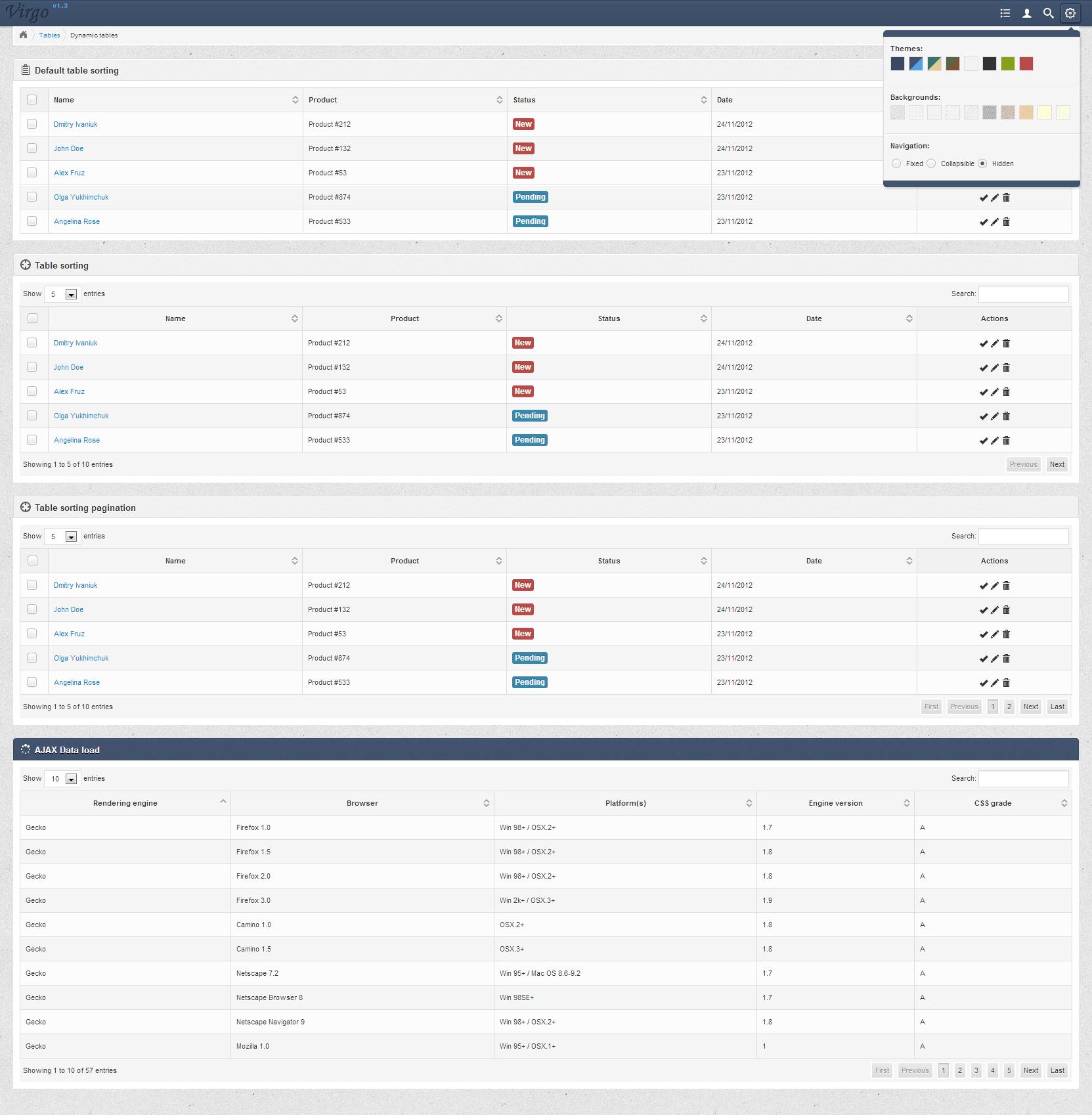 Virgo - Responsive Bootstrap 3 Admin Template