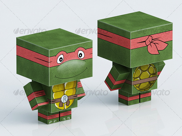 Paper toy Turtle Ninja Red