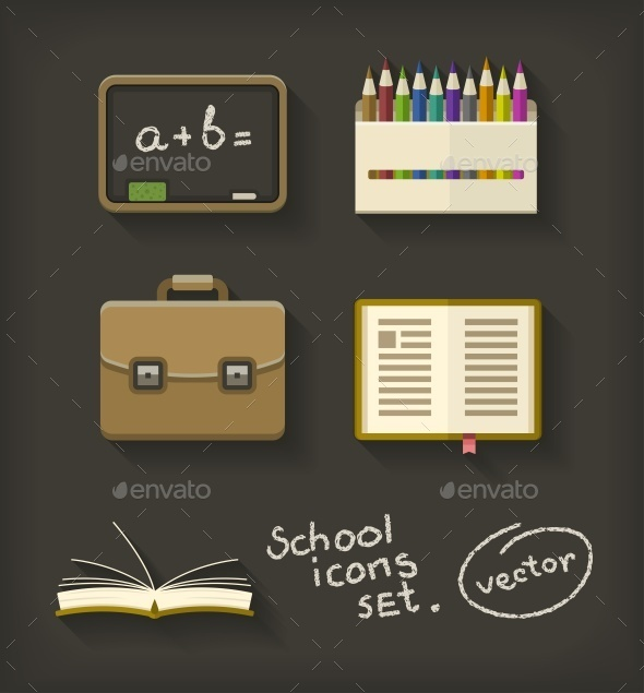 GraphicRiver School Flat Icons Book Pencil Briefcase 9562609