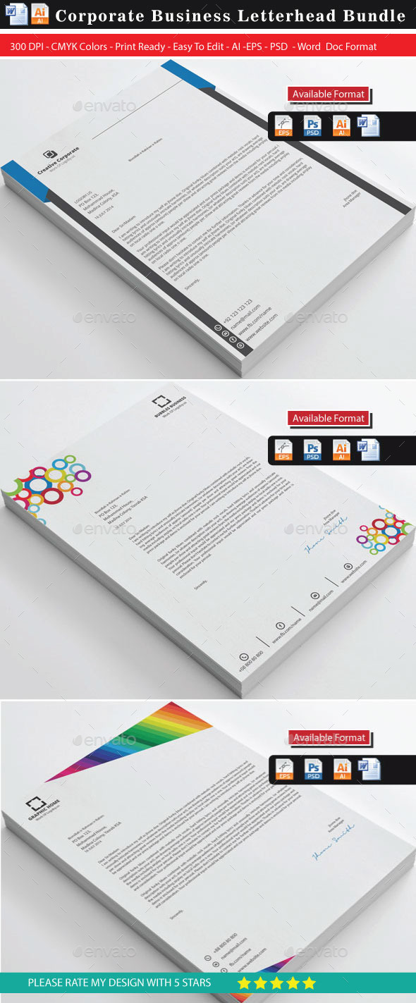 GraphicRiver Advance Colorful Letterhead Bundles 9562775