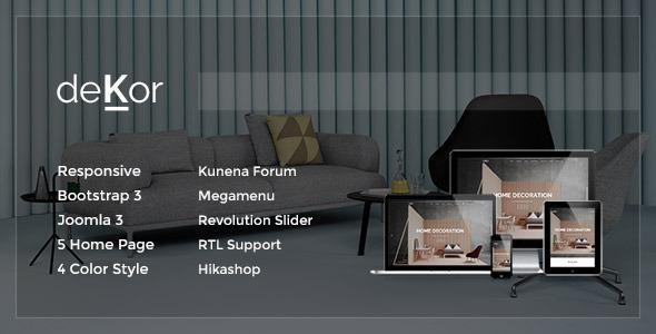 ThemeForest deKor Responsive Interior Joomla Template 9562787
