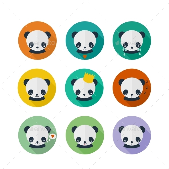 GraphicRiver Panda Vector Icons Set in Flat Design 9562834