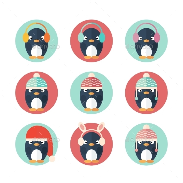 GraphicRiver Penguins Icons Set in Flat Design 9562836