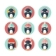 Penguins Icons Set in Flat Design - GraphicRiver Item for Sale