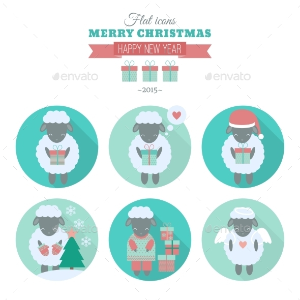 GraphicRiver Holiday Icons Set with Sheep in Flat 9562838