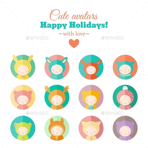 GraphicRiver Vector Set of Holiday Carnival Avatars 9562839