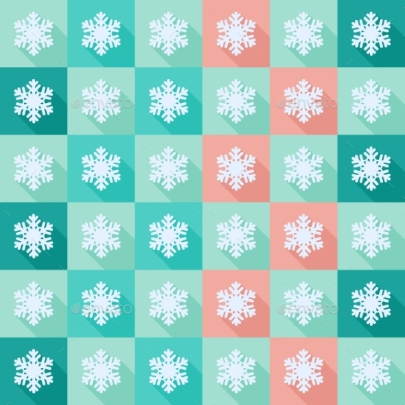 GraphicRiver Seamless Pattern with Flat Snowflakes 9562856