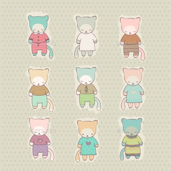 GraphicRiver Set of Cartoon Cats Dressed 9562862