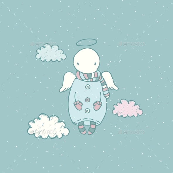 GraphicRiver Cartoon Angel in the Sky 9562908