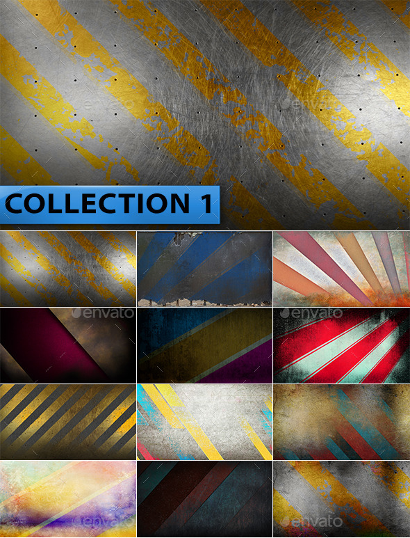 12 Striped Grunge Backgrounds Collection 1