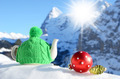 Tea pot in the cap against alpine scenery - PhotoDune Item for Sale