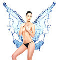Beautiful woman body with water splash of butterfly - PhotoDune Item for Sale