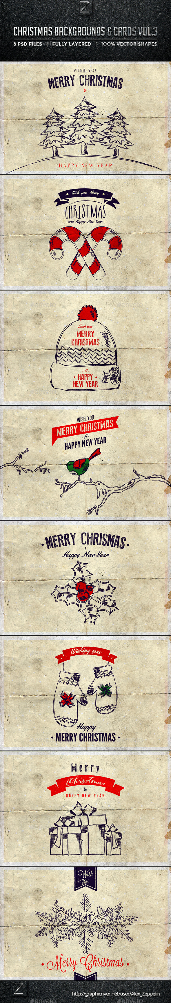 GraphicRiver Christmas Backgrounds and Cards Vol.3 9563307
