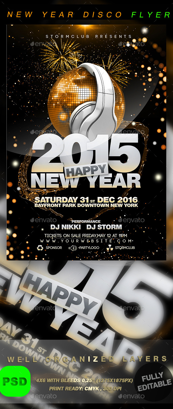 GraphicRiver New Year Disco Flyer Template 9563327