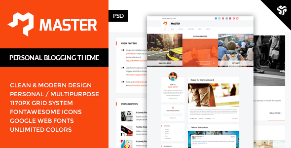 ThemeForest Master Personal Blog Theme 9563822
