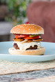 Freshly prepared home made beef cheeseburger with fresh onions, mushrooms, tomatoes and pickles - PhotoDune Item for Sale