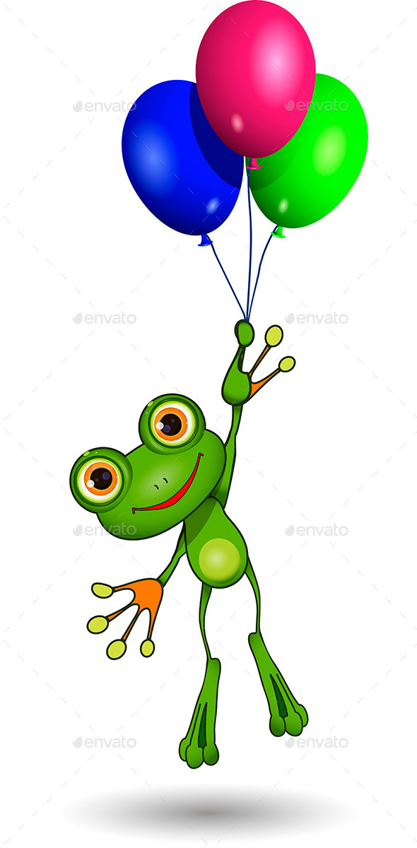 GraphicRiver Frog on Balloons 9563849
