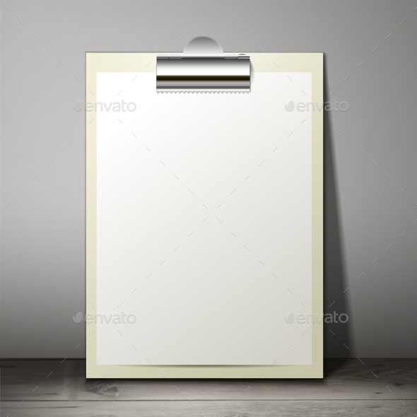 GraphicRiver Paper Sheet in a Clipboard of Standing 9564170