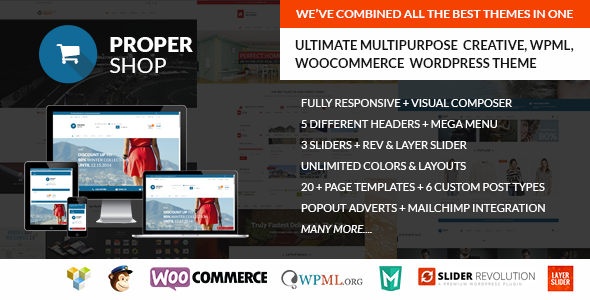 ThemeForest Propershop Ultimate Woocommerce WP Theme 9564775