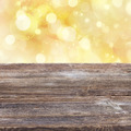 wooden planks with golden bokeh background - PhotoDune Item for Sale