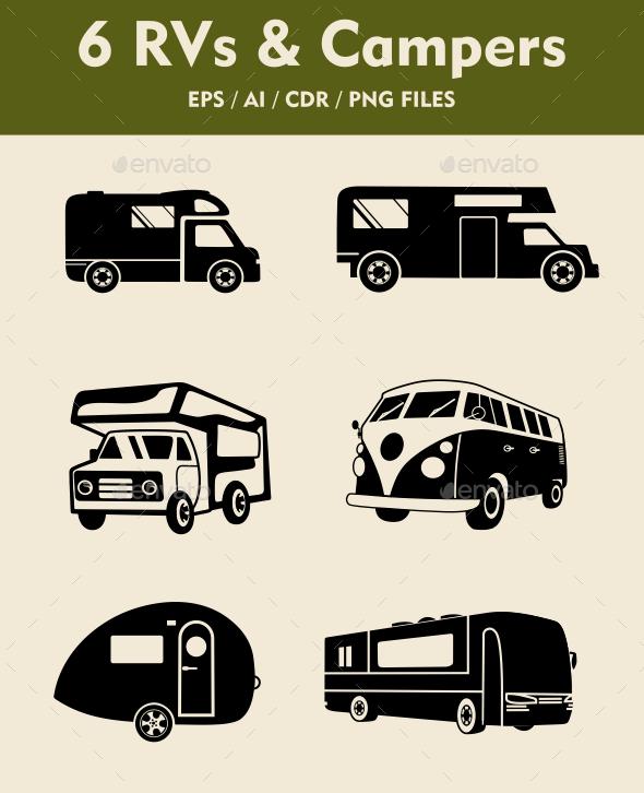 GraphicRiver 6 RV Camper Silhouettes 9536721