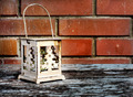 Old Christmas lantern on background of  old brick wall and floor - PhotoDune Item for Sale