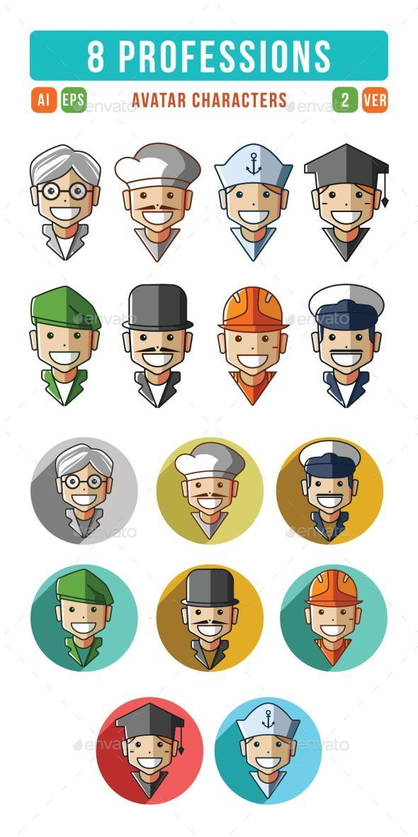 GraphicRiver Profession Characters Icons Set 9519427