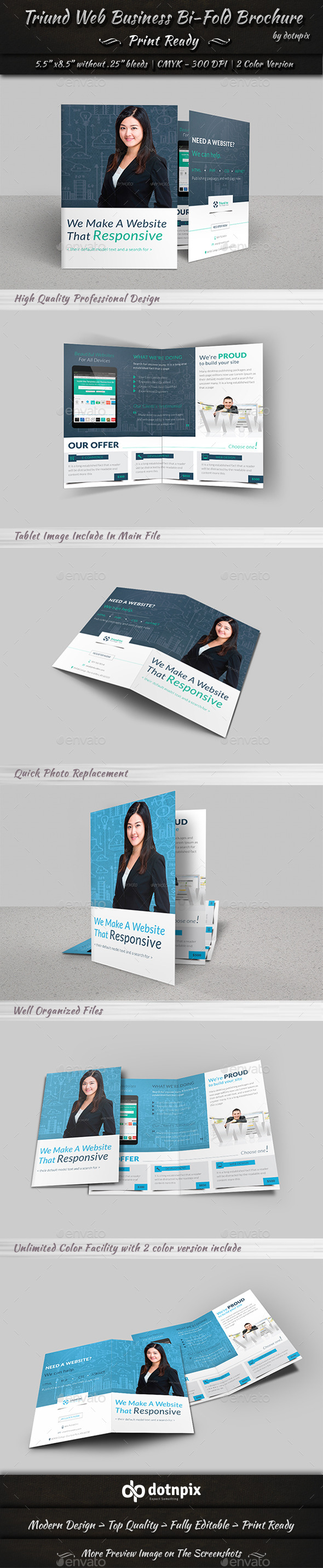 GraphicRiver Triund Web Business Bi-Fold Brochure 9571700