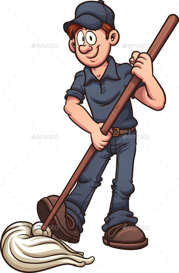 GraphicRiver Cartoon Janitor 9571873