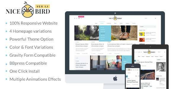 Introducing NiceBird: Listed In The Best Responsive WordPress Blog Themes NiceBird, one of the best responsive WordPress blog themes, suitable for magazines, bl